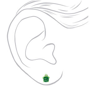 Silver Glitter Turtle Stud Earrings - Green,