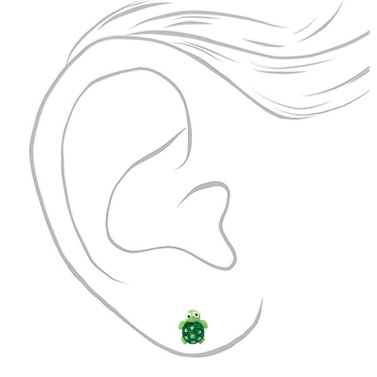 Silver Glitter Turtle Stud Earrings - Green,