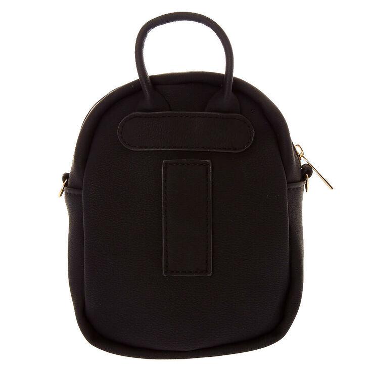 Faux Leather Mini Backpack Crossbody Bag - Black,