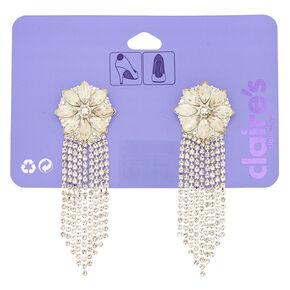 Silver Glass Rhinestone Chain Shoe Clips - 2 Pack,