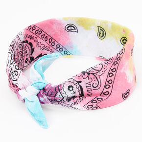 Bandeau bandana imprimé cachemire tie dye arc-en-ciel Claire'sClub,