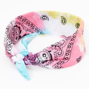 Claire's Club Rainbow Tie Dye Paisley Bandana Headwrap,