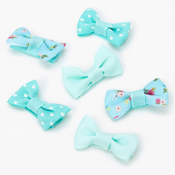 Claire's Club Spring Floral Hair Bow Clips - Mint, 6 Pack,
