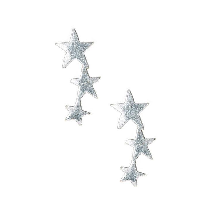 Sterling Silver Graduated Star Stud Earrings,