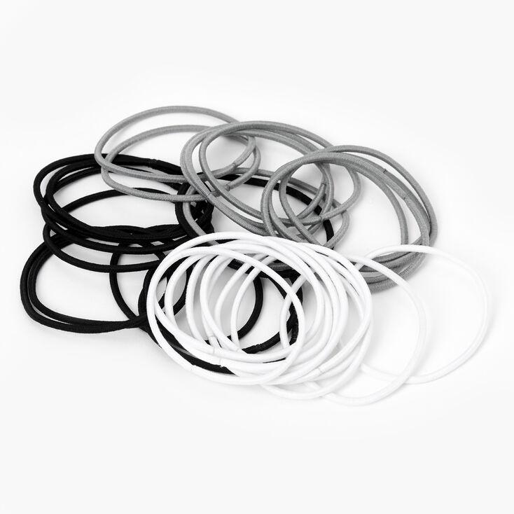 Black, Gray, & White Elastic Hair Ties - 30 Pack,