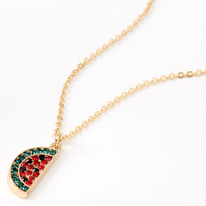Gold Embellished Watermelon Pendant Necklace,