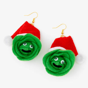"Gold 3"" Christmas Brussel Sprouts Drop Earrings,"