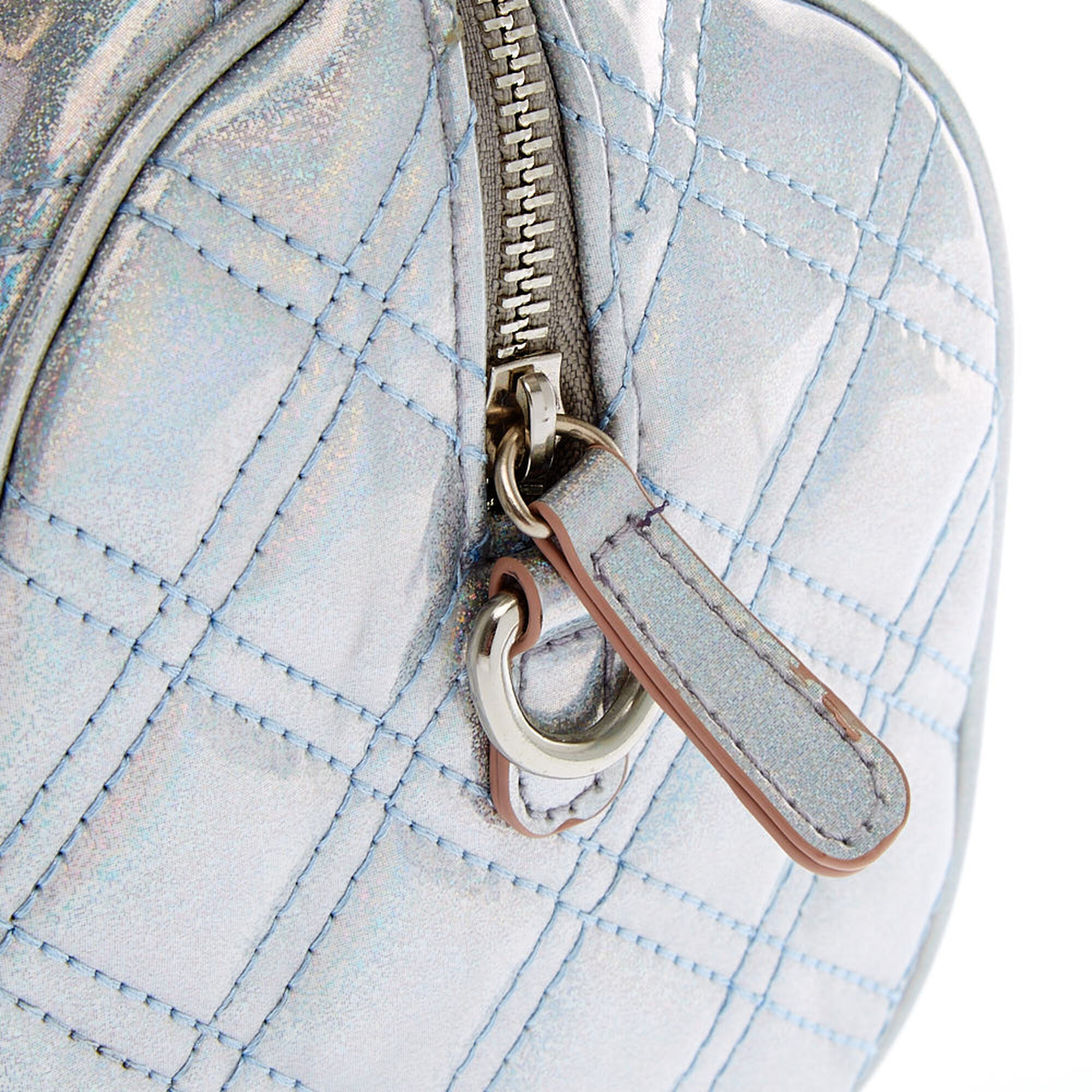 ... Holographic Quilted Mini Crossbody Duffle Bag 0ffe6310fe