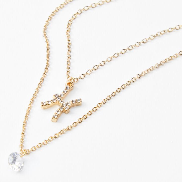 Gold Cubic Zirconia Zodiac Multi Strand Necklace - Pisces,