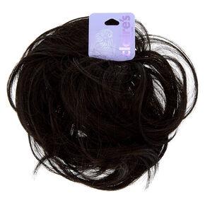 Extension en cheveux synthétiques noirs pour chignon,