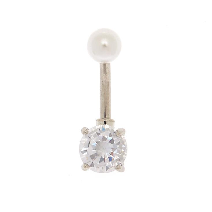 Barre piercing de nombril couleur argenté avec perle d'imitation 14g,