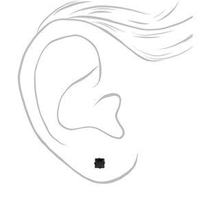 Black Cubic Zirconia Square Stud Earrings - Black, 8MM,