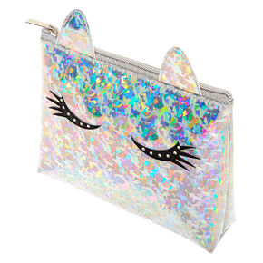 Holographic Unicorn Eyelashes Makeup Bag - Silver,