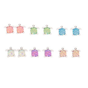 Silver Rainbow Turtle Stud Earrings - 6 Pack,