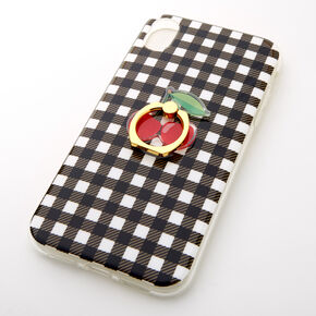 Gingham Ring Holder Protective Phone Case - Fits iPhone XR,