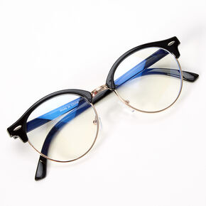 Solar Blue Light Reducing Round Browline Clear Lens Frames - Black,