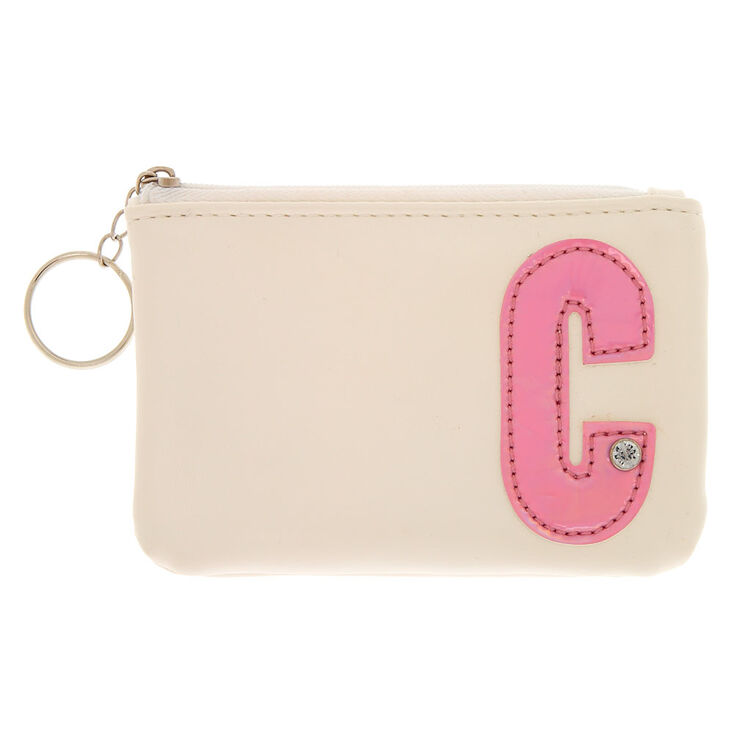White Faux Leather Pink Initial Coin Purse - C,