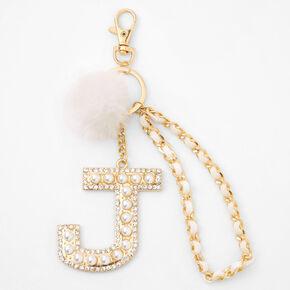 Gold Bling Initial Pom Pom Keyring - White, J,