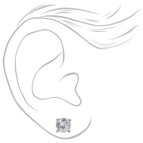 Silver Cubic Zirconia Round Stud Earrings - 4MM, 5MM, 6MM,