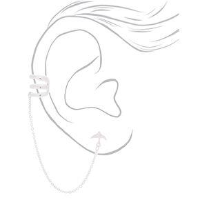 Silver Bird Connector Earrings,