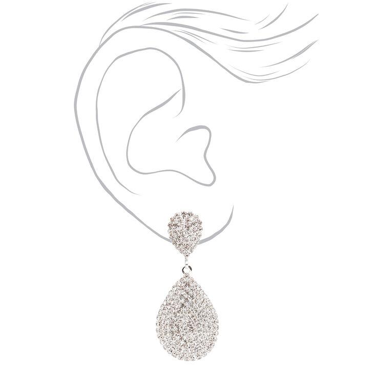 """Silver 1.5"""" Pave Teardrop Drop Earrings,"""
