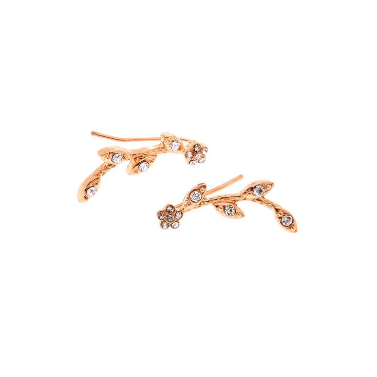 Rose Gold Embellished Vine Ear Crawler Earrings,
