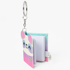 Glitter Ombre Panda Mini Diary Keyring - Pink,