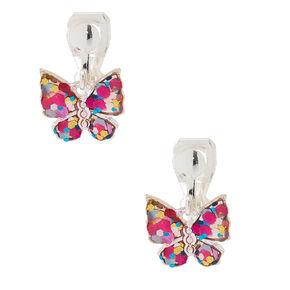 Glitter Erfly Clip On Drop Earrings