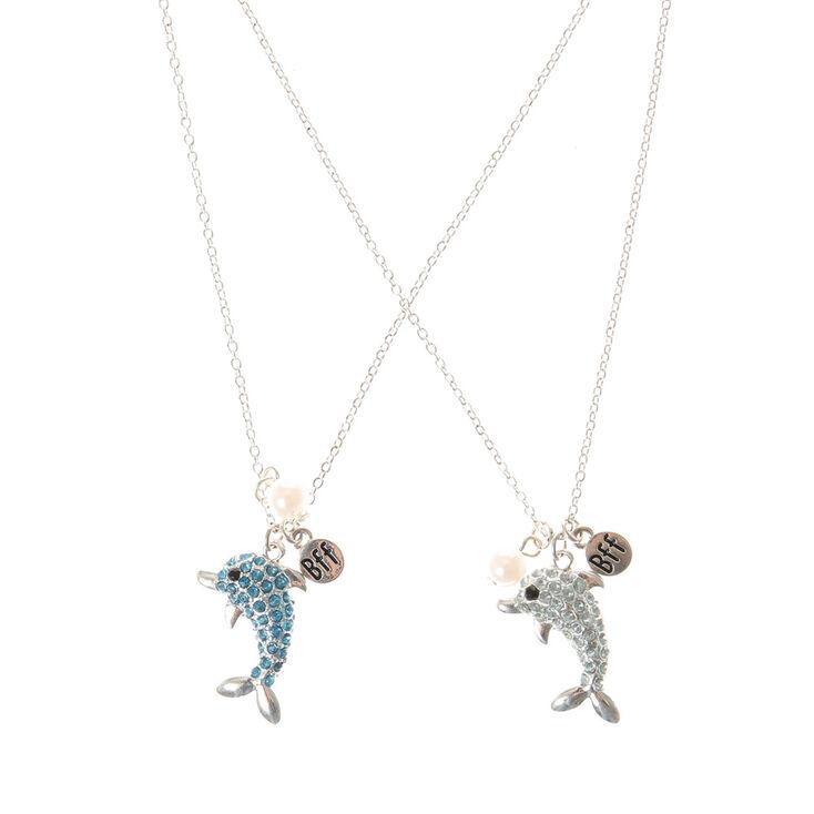 Colliers d'amitié dauphin strass bleu et argent,