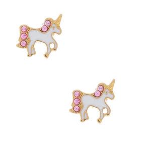 18kt Gold Plated Unicorn Stud Earrings - White,