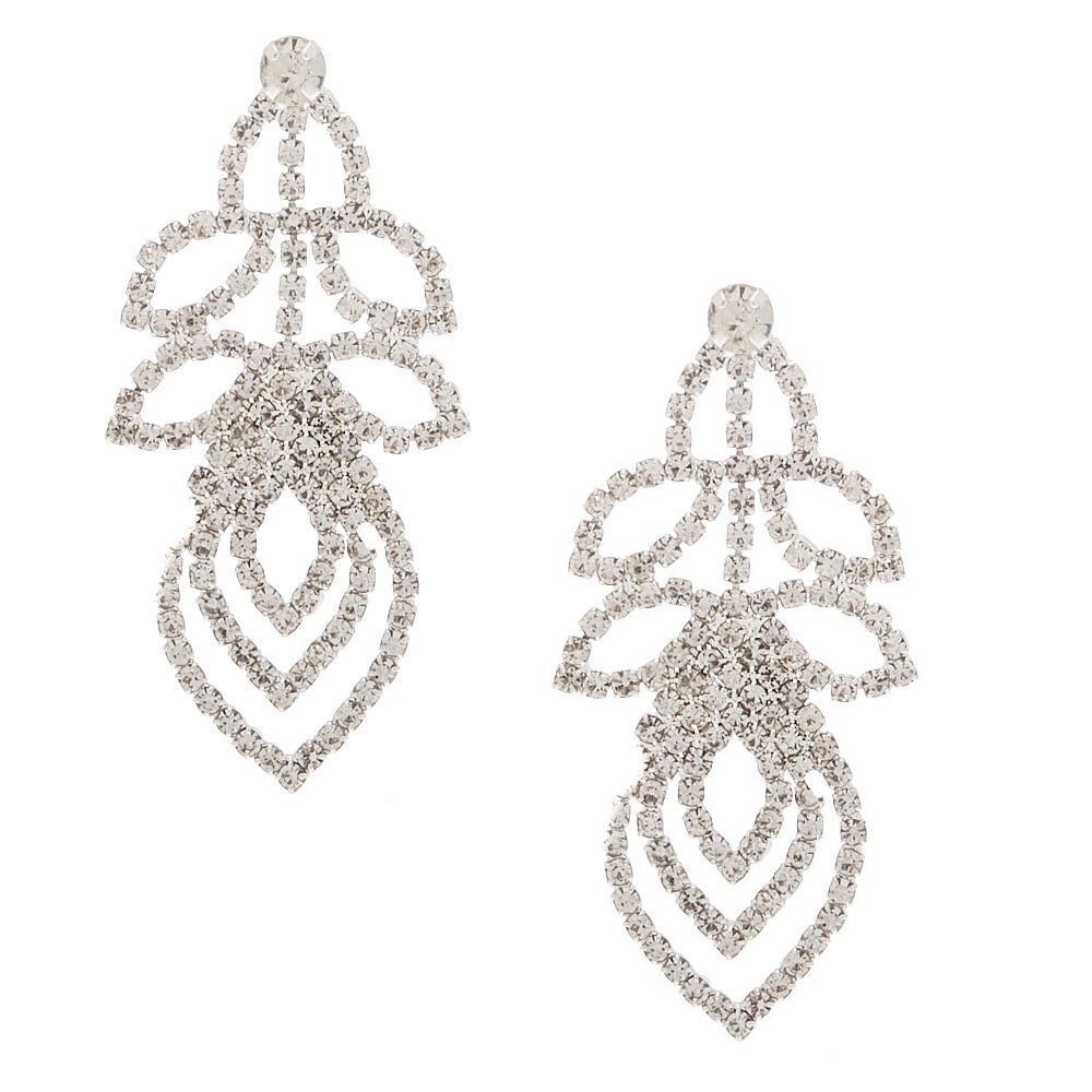 Claires Girls Silver Rhinestone 1 Layered Leaf Drop Earrings