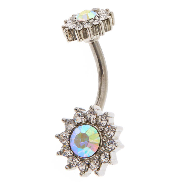 Iridescent Halo Crystal Belly Ring