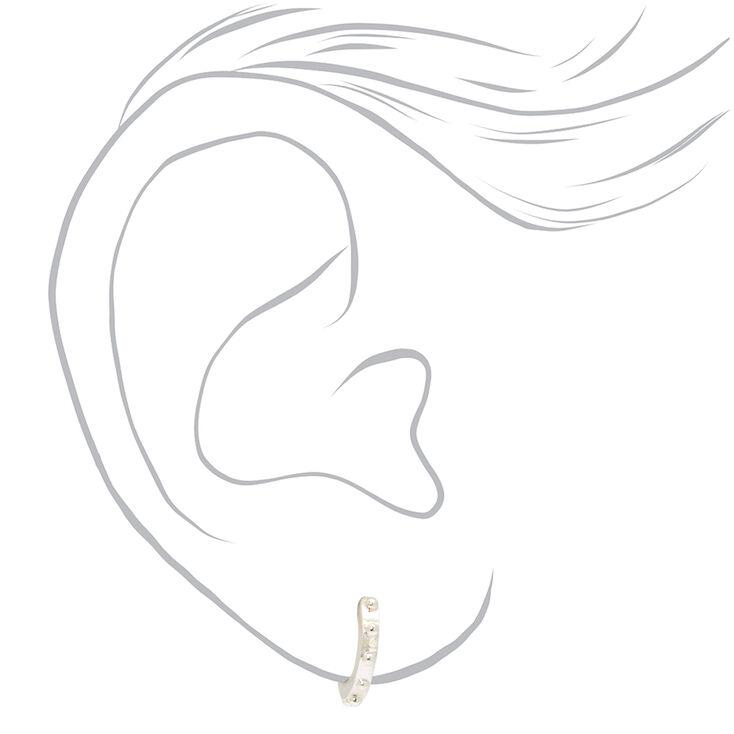 Silver 10MM Studded Huggie Hoop Earrings,