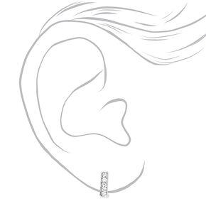 Silver 10MM Embellished Square Huggie Hoop Earrings,