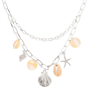 Silver Seashell Chain Statement Necklace,