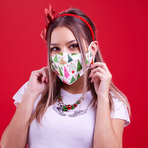 Cotton Christmas Trees Face Masks - Adult,
