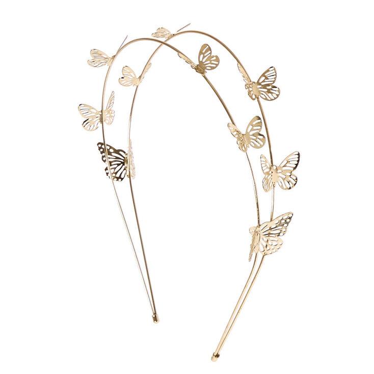 Gold Double Row Butterfly Headband,