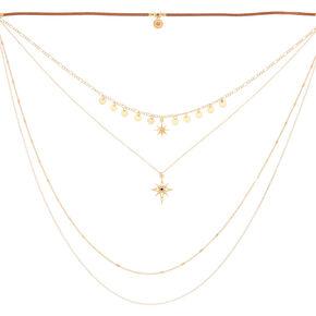 Gold Starburst Multi Strand Choker Necklace,