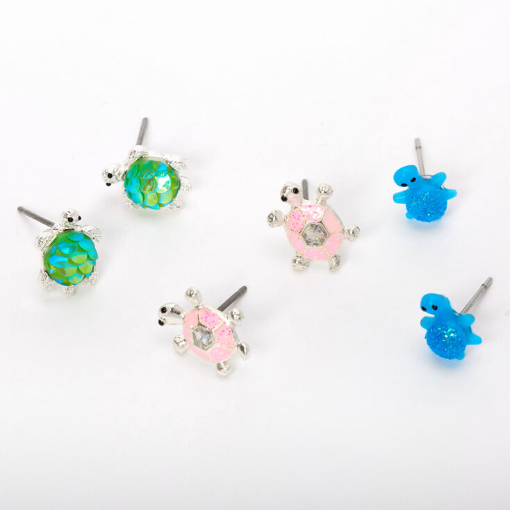 Silver Turtle Mix Stud Earrings - 3 Pack,
