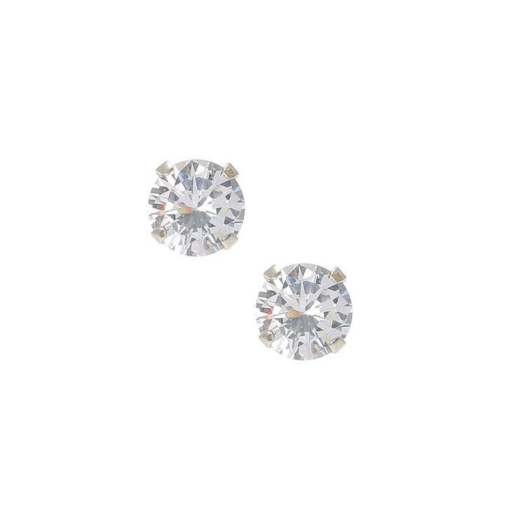 60ed12a29dd404 Sterling Silver Cubic Zirconia 7MM Martini Set Stud Earrings | Claire's