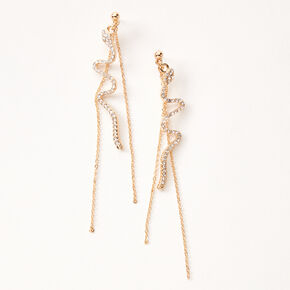 "Gold 3.5"" Embellished Snake Chain Drop Earrings,"