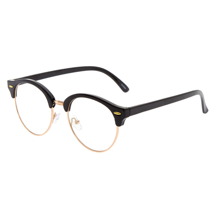 Rose Gold Browline Clear Lens Frames - Black,