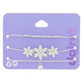 Silver Frosted Flower Adjustable Bracelets - 3 Pack,