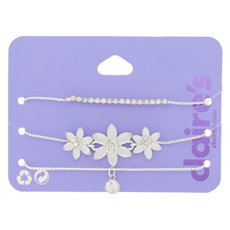 Silver Frosted Flower Adjustable Bracelets - 3 Pack,