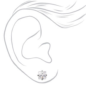 Silver Titanium Cubic Zirconia Square Stud Earrings - 6MM,