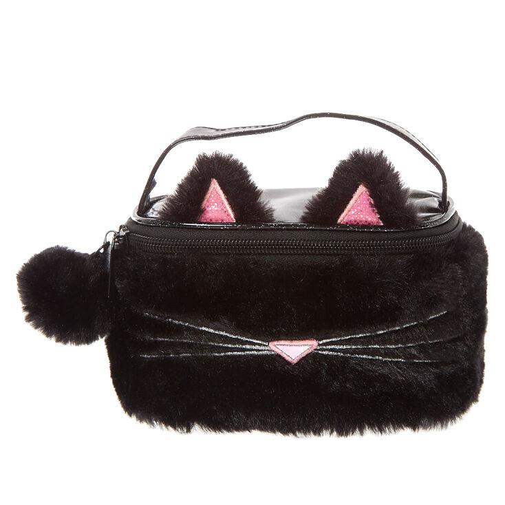 Black Plush Cat Train Make Up Case,