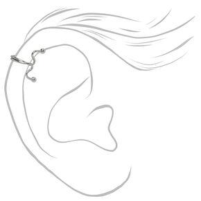Fausse boucle d'oreille pour tragus gribouillis couleur argentée,
