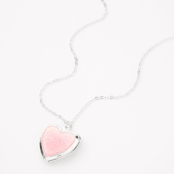 Glitter Heart Locket Necklace - Pink,