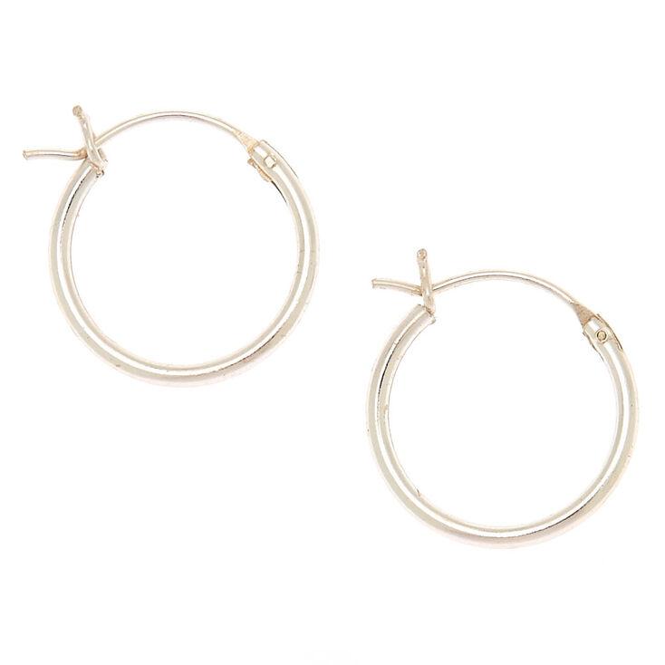 Sterling Silver 14mm Hinged Hoop Earrings