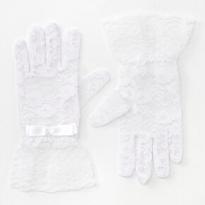 Lace Gloves with Bow - White,